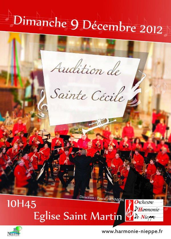Audition de Sainte Cécile Dimanche 9 décembre 2012 à 10h45 - Eglise St Martin de Nieppe